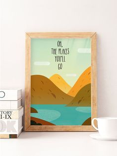 Nursery Illustration Baby Wall Art Oh the places you by NorseKids
