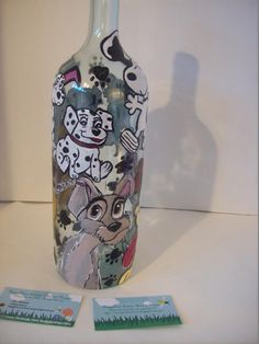 """""""Puppy Love"""" Famous Cartoon Dogs on a lighted wine bottle... https://www.facebook.com/buggybeandesigns"""