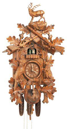 "Reloj de cuco estilo ""Madera tallada"" movimiento mecánico de 8 días 75cm de Anton Schneider"