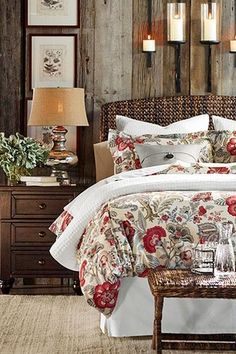 Traditional Master Bedroom with Pottery Barn Seagrass Headboard, Pottery Barn Allegra Palampore Duvet Cover, Hardwood floors