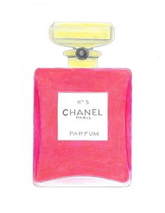 Chanel No.5 Perfume Pink Bottle Watercolor Fashion Illustration Print Pink and Gold Chanel Wall Art Teen Wall Art Girls Room Decor (15.00 USD) by Zoia
