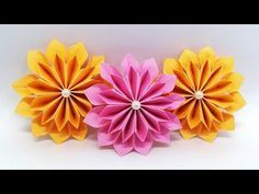 DIY Paper Flowers easy making tutorial (Origami Flower) - Paper Crafts Ideas - YouTube