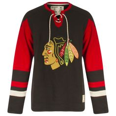 a53c5b6af Chicago Blackhawks Men s Black and Red Primary Logo Lace-Up Collar Long  Sleeve Shirt