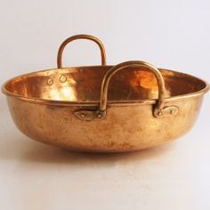 Copper jam or preserving pan, French, Copper Planters, Copper Pots, Copper Kitchen, Copper And Brass, Antique Copper, Hammered Copper, Copper Cooking Pan, Copper Tea Kettle, Copper Utensils