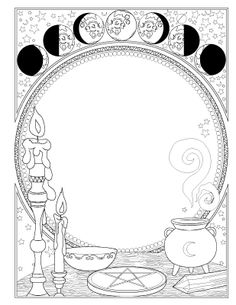Book of Spells - Coloring Book of Shadows Magick Spells, Wicca Witchcraft, Pagan Witch, Witches, Witch Coloring Pages, Adult Coloring Pages, Coloring Books, Coloring Sheets, Grimoire Book