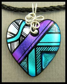 hand engraved dichroic glass heart, sterling silver bail