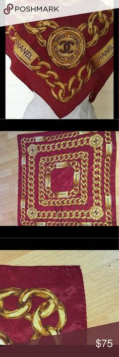 "Chanel Cambon Red Gold silk scarf Chanel Cameron Paris Red and Gold chain style 33.5"" square scarf. Silk,  in very good condition.  No stains pulled threads or other defects CHANEL Accessories Scarves & Wraps"