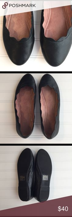 J Jill Scalloped Edge Flats A lovely pair of classic black flats from J Jill.  Size 11.  A beautiful scalloped edge around top of shoe.  Comfy, soft lining.  Stylish but also great for walking.  Have been worn but in like new condition. J Jill Shoes Flats & Loafers
