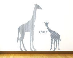 Giraffe Wall Decals Large Jungle Giraffe Fabric by ecowalldecals