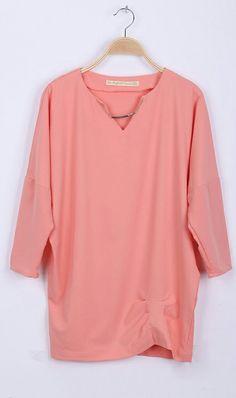Batwing sleeve loose dress 5739 Pink,so nice