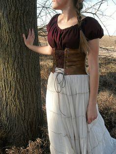 Modest Historical Costume Set--- Chemise, Skirt, and Leather Corset/Cincher--- Renaissance, Viking, Swedish, Historical, Peasant, etc... on Etsy, $130.00