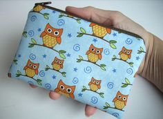 Owl Little Zipper Pouch Coin Purse Padded Gadget case  - Orange Owls on branches in Blue. $8.00, via Etsy.
