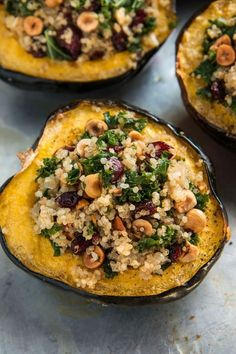 Stuffed Acorn Squash with Quinoa, Hazelnuts, and Kale Check out our Savory Recipes board for our favorite food photography, dinner ideas & healthy vegetarian dishes. Veggie Recipes, Whole Food Recipes, Vegetarian Recipes, Cooking Recipes, Healthy Recipes, Vegan Acorn Squash Recipes, Veggie Food, Sandwich Recipes, Vegetarian Stuffed Acorn Squash