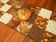Quilted Fall Table Runner with Pumpkins and Leaves, Autumn Table Runner, Brown…