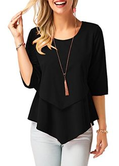 Dellukee Blouses for Women Elegant 2018 Ruffle Flowy Short Sleeve Tunic Tops Loose Shirts Stylish Tops For Girls, Trendy Tops For Women, Blouses For Women, Ladies Blouses, Women's Blouses, Flowy Shirts, Loose Shirts, How To Roll Sleeves, Half Sleeves