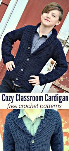 Free cardigan crochet pattern for boys, size 8 10