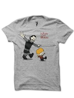 Clavin And Hobbes Game Of Thrones from XTEAS  The George R. R. Martin/HBO fantasy epic Game of Thrones meets everyone's favorite comic boy and tiger. Calvin and Hobbes are transplanted to Westeros as Tyrion & Bronn. - A Calvin And Hobbes Comic Strip Tribute T-Shirt