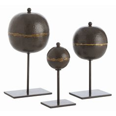 Arteriors Rocco Iron Orb Sculptures – Set of 3