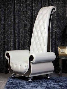 VIG Furniture - Divani Casa Luxe Neo-Clasical Pearl White Italian Leather Tall Chair - VGKND6032