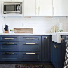 Navy + Brass Modern Kitchen Remodel