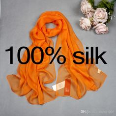 High Quality 100% Mulberry Silk Real Silk Long Scarf Georgette Plain Scarves Shawls for Women 170 * 50cm from Daisy1991,$36.65   DHgate.com
