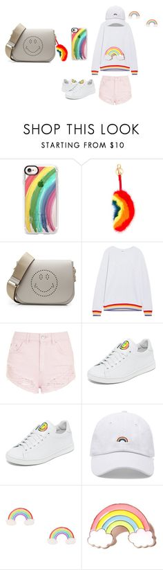 """Rainbow is my happiness"" by marissa-sw-ng ❤ liked on Polyvore featuring Casetify, Anya Hindmarch, The Upside, Topshop, Joshua's, Forever 21, Local Heroes and pride"