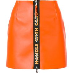 Heron Preston short A-line skirt ($750) ❤ liked on Polyvore featuring skirts, bottoms, orange, a line skirt, leather a line skirt, real leather skirt, genuine leather skirt and orange leather skirt