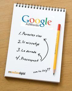 4 Consells bàsics per una bona campanya a Google Adwords: paraules clau, missatge, durada i pressupost. #SEM #publicitatonline #anunciweb #marketingdigital