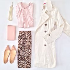 Loft leopard pencil skirt, Banana Republic classic trench, H&M pink ruffle top, Kate Spade blush wallet, pearls and blush Louboutin pigalles - spring outfit