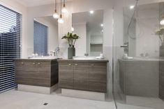 #masterensuite #ensuite #doublevanity #shower #pendant #bathroomstorage