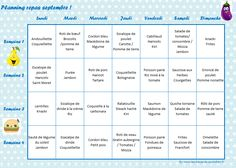 September - Menus for the family and adapted for the little ones - Planning repas enfant - Healthy recipes easy Healthy Meals For Kids, Healthy Chicken Recipes, Healthy Breakfast Recipes, Easy Healthy Recipes, Healthy Cooking, Baby Food Recipes, Easy Meals, Dinner Recipes, School Menu