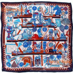 Hermes Les Trophees Scarf 90cm with White Silk Twill