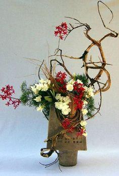 Ikebana - Red and white flowers - art 8