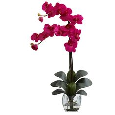 8 Beautiful Colors of Double Phal Orchid w/Vase Arrangement Faux Silk Flowers