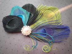 Peacock Wedding Hair Accessories, Feather Hair Clip, Wedding Hair Fascinator, peacock, black, blue, teal, lime green - DRAGON FLY. $36.00, via Etsy.