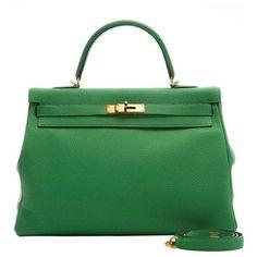 126023e1dbcd Preowned Hermes Kelly Bamboo Green Bag 35cm ( 15