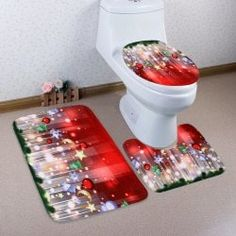 Christmas Hanging Decorations Patterned 3 Pcs Toilet Mat Set They are beautiful, lovable and affordable. You deserve it! Christmas Rugs, Christmas Bathroom Decor, Christmas Tree Star, Merry Christmas, Christmas 2017, Christmas Gifts, Bathroom Rugs, Bathroom Shower Curtains, Bath Rugs