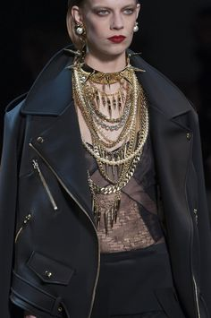 details @ Alexandre Vauthier Spring 2014 Couture #spikes jewellery