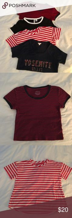 """T-shirt bundle Aero stripe, baby red S H&M black and white XS Old Navy red white girl 10-12 Gap navy """"Yosemite Valley"""" XS  $6 each or $20 for all Tops Tees - Short Sleeve"""