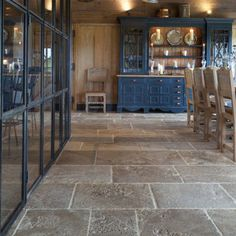 36 Gorgeous Kitchen Tile Floor Design - New Year Pic's Flagstone Flooring, Limestone Flooring, Travertine Floors, Travertine Bathroom, Hardwood Floors, Tiled Floors, Brick Flooring, Rustic Kitchen Cabinets, Kitchen Rustic