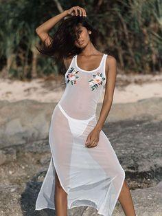 526d9523134 Cover ups Bikini SAKKUS 2018 New Sexy Women Retro Transparent Mesh Bikini  Swimsuit Embroidered Beach Wear Long Sleeveless Dress