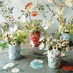 Recycled can flower vases. Jarrones reciclados