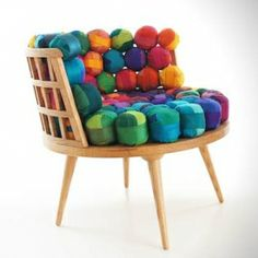 Nepali women create these seats out of recycled silk pieces.