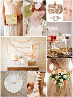 Peach and gold inspiration board #wedding #inspiration #details #gold #pink #peach