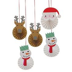 These delightful pinwheel decorations come in 3 styles, each a Christmas character including Santa, reindeer and a snowman. They will add a fun festive feeling to any holiday celebration. Embellished with silver glitter. Christmas Activities, Christmas Crafts For Kids, Christmas Projects, Kids Christmas, Handmade Christmas, Holiday Crafts, Pinwheel Decorations, Christmas Decorations, Christmas Ornaments