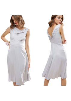 40s Seamed Satin Midi Dress - Google-haku Satin Midi Dress, White Dress, Google, Dresses, Fashion, Vestidos, Moda, Fashion Styles, Dress