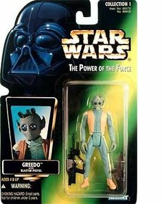 "Star Wars Power of the Force Green Card Greedo Action Figure by Kenner-Hasbro. $8.40. For Ages 4 & Up. Star Wars: Power of the Force 3/4"" green card with hologram action figure from Hasbro. Star Wars Power of the Force GREEDO Green Card Figure"