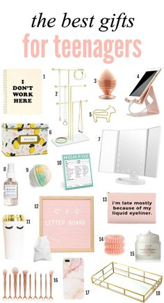 Gifts for the teenagers in your life. She will love this letter board compact mirror beauty supplies makeup organizer mermaid makeup brushes and more! - March 02 2019 at Cool Gifts For Teens, Christmas Gifts For Teen Girls, Tween Girl Gifts, Birthday Gifts For Teens, Gifts For Women, Holiday Gifts, Teen Girl Birthday, Gift Ideas For Women, Ladies Gifts