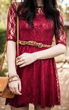 Mesh Heart Lace Dress - Red