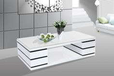 Modern Contemporary White/Black Coffee Table TBQF5017